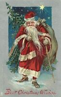 Tuck Long Red Robe~Santa Claus with~Tree~ Antique Christmas Postcard---s831