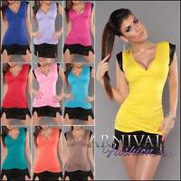 SEXY WOMENS CASUAL TOP wrap shirt LADIES SHORT SLEEVE BLOUSE sz XS S M L V NECK