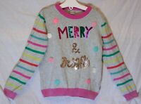 Girls TU Grey Pink Sparkly Multi Sequin Merry & Bright Xmas Jumper Age 5-6 Years