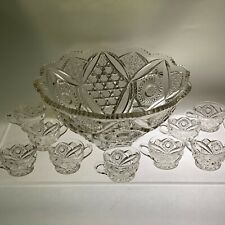 Incredible EAPG Fostoria Glass Company Punch Bowl #1605 w/9 Custard/Punch Cups