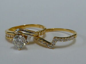 Ladies Stunning 18ct Gold Fancy CZ Ring Set - Size Q - Fully hallmarked