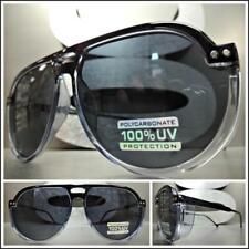 Classic Vintage 70's Retro Style SUN GLASSES Black Semi Blinder Frame Dark Lens