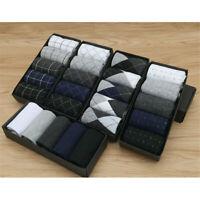 5 Pairs Mens Casual Winter Warm Soft Cotton Socks Designer Fashion Dress Socks