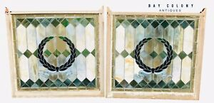 19TH C VICTORIAN PAIR OF ANTIQUE STAINED GLASS WINDOWS