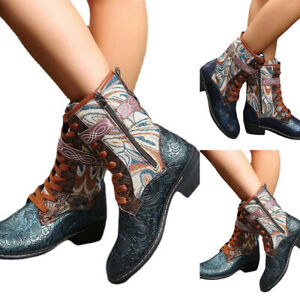 Womens Ethnic Tie Midi Embroidered Boots Zip Retro Casual Western Booties Shoes