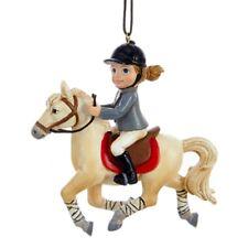 """KURT ADLER 3.5"""" RESIN HORSE RIDING GIRL EQUESTRIAN CHRISTMAS ORNAMENT STYLE 1"""