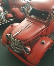 New! Mancave Handpainted Red Metal Vintage Style Old Fire Truck Figurine Decor