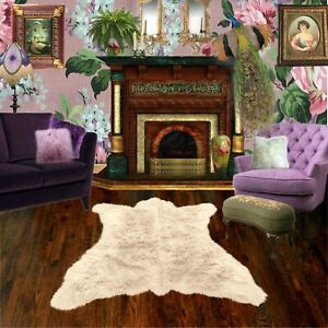 White Bear Skin Rug - Faux Fur - Polar Bear - Sheepskin Shag - FUR ACCENTS