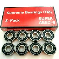 Supreme Super ABEC-9 Skateboard Bearings Set Of 8 Pack longboard roller skate