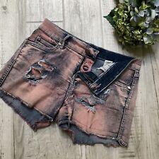 BETSEY JOHNSON Destroyed Pink Waist Frayed Jean Shorts Size 6