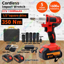 "1/2"" Square Drive Cordless Impact Wrench Lithium-Ion Battery Rattle Gun Sockets"