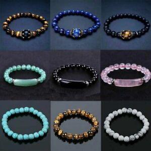 New Tiger Eye Natural Stone Beaded Bracelet Women Men Elasticity Bangle Jewelry