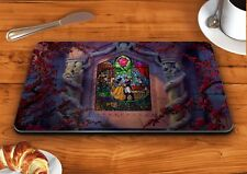 Beauty and the beast stained glass disney glass chopping cutting board food
