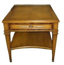 Vintage Weiman Mid Century Inlaid Side Table with Drawer, Shelf & Brass Gallery
