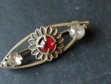 Vintage jewellery goldtone red and diamante small lace pin or doll's brooch