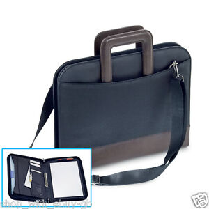 A4 ZIPPED 2 RING BINDER Conference Folder & Document Bag Faux Leather Black