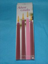 "Advent Candles, Set of 4, NIB, 1 Pink & 3 Purple, 7/8"" x 10"" tall, Burn 8-10 hrs"