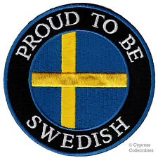 PROUD TO BE SWEDISH embroidered iron-on PATCH SWEDEN FLAG EMBLEM NATIONAL PRIDE