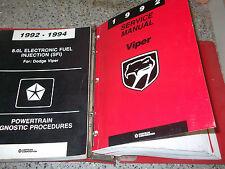 1992 1993 Dodge Viper Coupe Roadster Service Shop Repair Manual SET BOOK