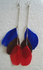 Very long Multi-Coloured Feather Earrings - Choice of Colours - Clip-on Option