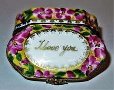 "LIMOGES BOX - FLORAL CHEST - PINK FLOWERS & GOLD BUTTERFLIES - ""I LOVE YOU"""