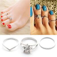 3Pcs/Set Celebrity 925 Silver Daisy Crystal Toe Ring Punk Finger Foot Jewelry