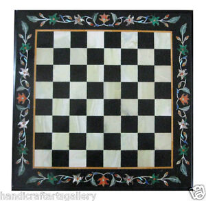 """18"""" Black Marble Coffee Chess Table Top Marquetry Floral Inlay Arts Decors H1927"""