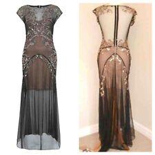 Stunning Miss Selfridge 20s Black Vintage Gatsby Embellished Maxi Dress Uk8 BNWT