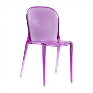 THALYA CLEAR PURPLE ACRYLIC LUCITE DINING GHOST CHAIR MODERN RARE 🟪Willy Wonka