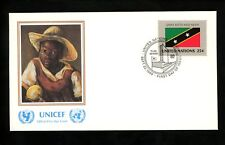 UN United Nations FDC NY #568 UNICEF Cachet Flag Series St Kitts and Nevis 1989