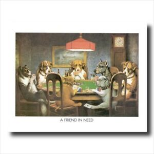 Dogs Playing Poker At Table Wall Picture Art Print #1