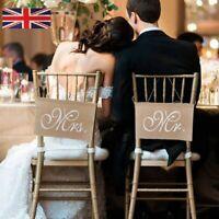 Mr & Mrs Burlap Chair Banner Set Sign Rustic Wedding Party Khaki Garland Decor