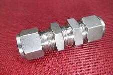 "DK-Lok® 3/8"" Tube OD x 3/8"" Tube OD BULKHEAD Union Fitting 316 Stainless Steel"