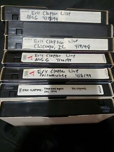 Prerecorded video vhs tapes blank music concerts eric Clapton  sold as is