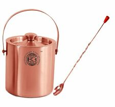 Set Of 2 100% Stainless Steel and Copper Ice Bucket and Bar Spoon Free Ship