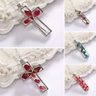 Creative Real Natural Dried Flower Cross Glass Drop Pendant Necklace Jewellery