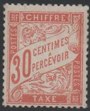 "FRANCE STAMP TIMBRE TAXE 34 "" 30c ROUGE-ORANGE "" NEUF xx TB SIGNE , RARE J650"