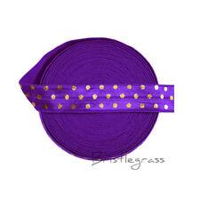 "5 Yard 5/8"" Gold Polka Dot Foil Print Purple Fold Over Elastic Spandex Band Trim"