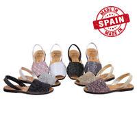 Sandali di Minorca Brogues pelle Glitter Donna Taglia 35 36 37 38 39 40 41