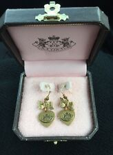 Juicy Couture Heart & Bow Drops Gold Earrings w Logo Excellent Condition!
