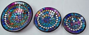 Glasmosaik,Dekoschale,Obstschale,Gebäckschale Handarbeit 3er Set 16 versch. Farb
