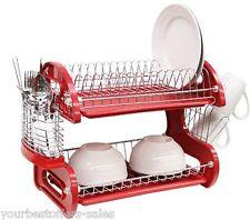 Dish Drainer 2 Tier Dish Rasck Kitchen Accessories Red Plastic Silverware Holder