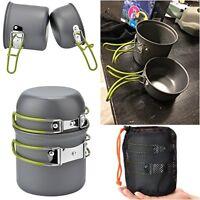 Camping Cookware Set Pot Pan 2Pcs Outdoor Backpacking Hiking Emergency Survival