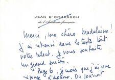 Jean D'ORMESSON - Carte autographe signée sur la Passion.