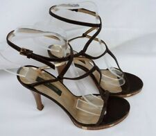 STYLISH  Sergio Rossi BROWN LEATHER STRAP PLATFORM HEELS Size UK 4.5  EU 37.5