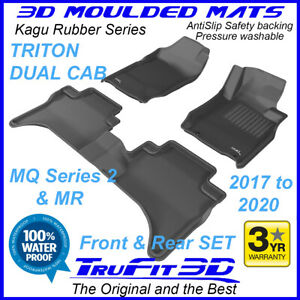 Fit Mitsubishi Triton Dual Cab MQ2 / MR 2017-2020 3D Kagu Black Rubber Car Mats