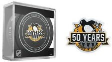 PITTSBURGH PENGUINS PUCK & PATCH 50 YEARS 50TH ANNIVERSARY STANLEY CUP CHAMPS