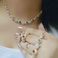 Indian Pakistan Bollywood American Diamond Necklace Combo Red Party Wear Wedding