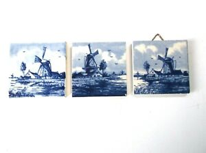 Three Delft Tiles Small Hanging Windmill Blue Delft  2x 2 inches Vintage