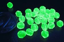 URANIUM Czech Vaseline glass fire polished faceted round beads 6mm 50 pcs.